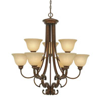 Golden Lighting Rockefeller 9 Light Chandelier in Champagne Bronze with Tea Stone Glass 3711-9-CB