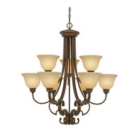 Golden Lighting Rockefeller 9 Light Chandelier in Champagne Bronze 3711-9-CB
