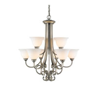 Rockefeller 9 Light 31 inch Peruvian Silver Chandelier Ceiling Light in Opal Glass, 2 Tier