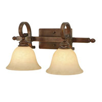 Golden Lighting Rockefeller 2 Light Bath Fixture in Champagne Bronze with Tea Stone Glass 3711-BA2-CB