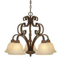 Golden Lighting Rockefeller 5 Light Chandelier in Champagne Bronze with Tea Stone Glass 3711-D5-CB