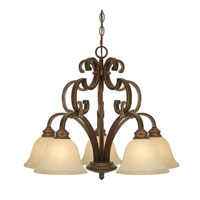 Golden Lighting Rockefeller 5 Light Chandelier in Champagne Bronze with Tea Stone Glass 3711-D5-CB alternative photo thumbnail