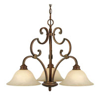 Golden Lighting Rockefeller 3 Light Chandelier in Champagne Bronze with Tea Stone Glass 3711-ND3-CB