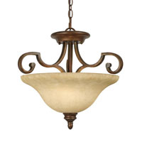 Golden Lighting Rockefeller 3 Light Convertible Semi-Flush in Champagne Bronze with Tea Stone Glass 3711-SF-CB