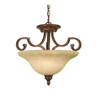 Rockefeller 3 Light 19 inch Champagne Bronze Semi-Flush Ceiling Light in Tea Stone Glass, Convertible