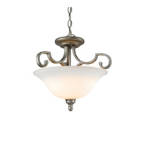 Rockefeller 3 Light 19 inch Peruvian Silver Semi-Flush Ceiling Light in Opal Glass, Convertible