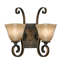 Golden Lighting Meridian 2 Light Wall Sconce in Golden Bronze with Square Antique Marbled Glass 3890-2W-GB photo thumbnail