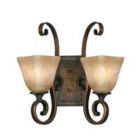 Golden Lighting Meridian 2 Light Wall Sconce in Golden Bronze with Square Antique Marbled Glass 3890-2W-GB alternative photo thumbnail