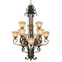 Golden Lighting Meridian 12 Light Chandelier in Golden Bronze with Square Antique Marbled Glass 3890-363-GB