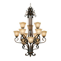Meridian 12 Light 32 inch Golden Bronze Chandelier Ceiling Light, 3 Tier
