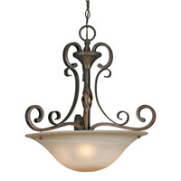Golden Lighting Meridian 3 Light Bowl Pendant in Golden Bronze with Antique Marbled Glass 3890-3P-GB