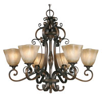 Golden Lighting Meridian 6 Light Chandelier in Golden Bronze with Square Antique Marbled Glass 3890-6-GB
