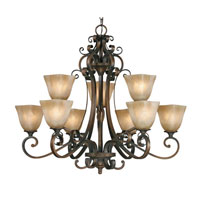 Golden Lighting Meridian 9 Light Chandelier in Golden Bronze with Square Antique Marbled Glass 3890-9-GB