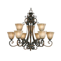 Meridian 9 Light 35 inch Golden Bronze Chandelier Ceiling Light, 2 Tier