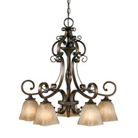 Golden Lighting Meridian 5 Light Chandelier in Golden Bronze with Square Antique Marbled Glass 3890-D5-GB