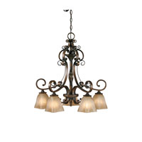 Golden Lighting Meridian 5 Light Chandelier in Golden Bronze with Square Antique Marbled Glass 3890-D5-GB alternative photo thumbnail