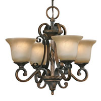 Golden Lighting Meridian 4 Light Mini Chandelier in Golden Bronze with Antique Marbled Glass 3890-GM4-GB