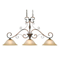 Golden Lighting Meridian 3 Light Island Light in Golden Bronze with Antique Marbled Glass 3890-ID3-GB