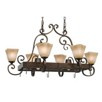 Golden Lighting Meridian 8 Light Chandelier in Golden Bronze with Square Antique Marbled Glass 3890-PR62-GB