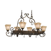 Golden Lighting Meridian 8 Light Pot Rack in Golden Bronze 3890-PR62-GB