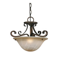 Meridian 3 Light 16 inch Golden Bronze Semi-Flush Mount Ceiling Light, Convertible