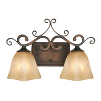 Golden Lighting Meridian 2 Light Bath Fixture in Golden Bronze with Square Antique Marbled Glass 3890-VL2-GB