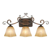 Golden Lighting Meridian 3 Light Bath Fixture in Golden Bronze with Square Antique Marbled Glass 3890-VL3-GB photo thumbnail
