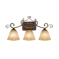 Golden Lighting Meridian 3 Light Bath Fixture in Golden Bronze with Square Antique Marbled Glass 3890-VL3-GB alternative photo thumbnail