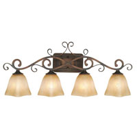 Golden Lighting Meridian 4 Light Bath Fixture in Golden Bronze with Square Antique Marbled Glass 3890-VL4-GB
