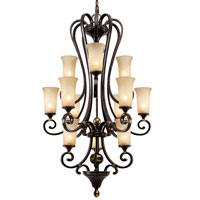 Golden Lighting Portland 12 Light Chandelier in Fired Bronze with Birch Glass 3966-363-FB