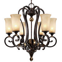 Golden Lighting Portland 6 Light Chandelier in Fired Bronze with Birch Glass 3966-6-FB