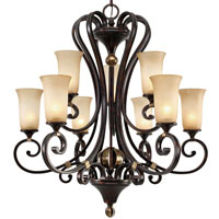Golden Lighting Portland 9 Light Chandelier in Fired Bronze with Birch Glass 3966-9-FB
