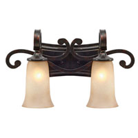 Golden Lighting Portland 2 Light Bath Fixture in Fired Bronze with Birch Glass 3966-BA2-FB
