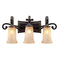 Golden Lighting Portland 3 Light Bath Fixture in Fired Bronze with Birch Glass 3966-BA3-FB