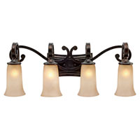 Golden Lighting Portland 4 Light Bath Fixture in Fired Bronze with Birch Glass 3966-BA4-FB