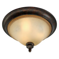 Golden Lighting Portland 3 Light Flush Mount in Fired Bronze with Birch Glass 3966-FM-FB