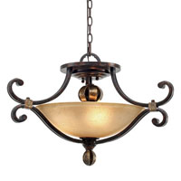 Golden Lighting Portland 3 Light Convertible Semi-Flush in Fired Bronze with Birch Glass 3966-SF-FB