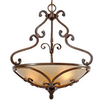 Golden Lighting Loretto 3 Light Bowl Pendant in Russet Bronze with Riffled Tannin Glass 4002-3P-RSB