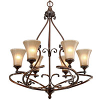 Golden Lighting Loretto 6 Light Chandelier in Russet Bronze with Riffled Tannin Glass 4002-6-RSB