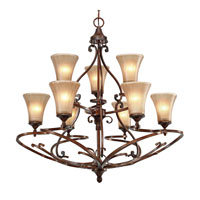 Golden Lighting 4002-9-RSB Loretto 9 Light 34 inch Russet Bronze Chandelier Ceiling Light 2 Tier