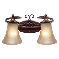 Golden Lighting Loretto 2 Light Bath Fixture in Russet Bronze with Riffled Tannin Glass 4002-BA2-RSB