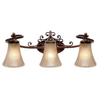 Golden Lighting Loretto 3 Light Bath Fixture in Russet Bronze with Riffled Tannin Glass 4002-BA3-RSB