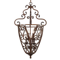 Golden Lighting Loretto 6 Light Caged Foyer in Russet Bronze with Metal Candlesleeves 4002-CG6-RSB