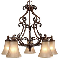 Golden Lighting Loretto 5 Light Chandelier in Russet Bronze with Riffled Tannin Glass 4002-D5-RSB