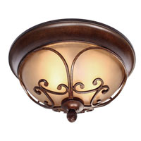 Golden Lighting Loretto 2 Light Flush Mount in Russet Bronze with Riffled Tannin Glass 4002-FM-RSB