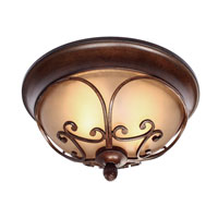 Golden Lighting Loretto 2 Light Flush Mount in Russet Bronze 4002-FM-RSB