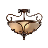 Golden Lighting Loretto 3 Light Convertible Semi-Flush in Russet Bronze with Riffled Tannin Glass 4002-SF-RSB alternative photo thumbnail