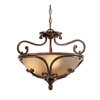 Loretto 3 Light 19 inch Russet Bronze Semi-Flush Ceiling Light, Convertible