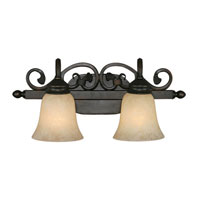 Golden Lighting Belle Meade 2 Light Bath Fixture in Rubbed Bronze with Tea Stone Glass 4074-2-RBZ