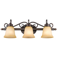 Golden Lighting Belle Meade 3 Light Bath Fixture in Rubbed Bronze with Tea Stone Glass 4074-3-RBZ alternative photo thumbnail